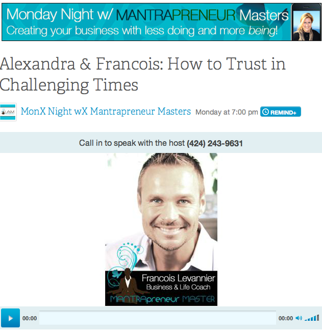 Screen shot Blog Talk Radio Francois